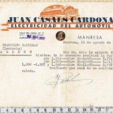 Facturas antiguas: FACTURAS TALLER CASALS CARDONA ELECTRICIDAD DEL AUTOMOVIL-MANRESA- 1958. Lote 40903645