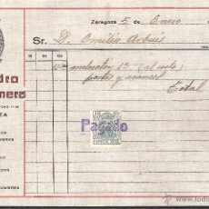 Facturas antiguas: FACTURA ZARAGOZA AÑO 1929 CAFES GOYA- ULTRAMARINOS PEDRO SANTAMERA. Lote 40911668