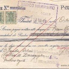 Facturas antiguas: FACTURA-CHEQUE TINEO -ASTURIAS- AÑO 1931 MANTEQUERA DE TINEO -CON PÓLIZAS-. Lote 40931673