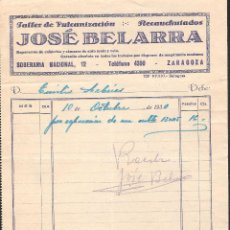 Facturas antiguas: FACTURA ZARAGOZA AÑO 1930 TALLER VULCANIZACION JOSE BELARRA. Lote 40955073