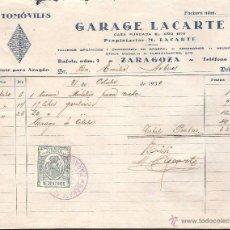 Facturas antiguas: FACTURA ZARAGOZA AÑO 1930 AUTOMOVILES GARAGE LACARTE CON TIMBRE PARA FACTURAS. Lote 40955350