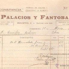 Facturas antiguas: FACTURA ZARAGOZA AÑO 1931 FABRICA DE DULCES LA CONSTANCIA DE PALACIOS Y FANTOBA. Lote 40955522