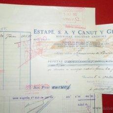 Facturas antiguas: FACTURA A TRANVIAS DE BARCELONA- DE ESTAPE SA Y CANUT Y GRACIA -FABRICA TEXTIL BARCELONA 1932. Lote 41040034