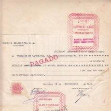 Facturas antiguas: FACTURA A TRANVIAS DE BARCELONA- DE LA BANCA MARSANS SA DE BARCELONA 1935. Lote 41040123