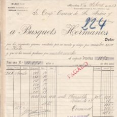 Facturas antiguas: FACTURA A TRANVIAS DE BARCELONA- DE BUSQUETS HERMANOS BILBAO -BARCELONA - MADRID SEVILLA 1913. Lote 41040206