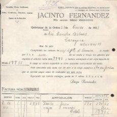 Facturas antiguas: FACTURA QUINTANAR DE LA ORDEN -TOLEDO- AÑO 1928 CEREALES, VINOS , AZAFRANES JACINTO FERNANDEZ. Lote 41079658