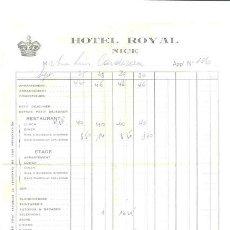 Facturas antiguas: FACTURA HOTEL ROYAL – NICE 1921. Lote 41193082