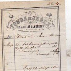 Facturas antiguas: FACTURA FONDA DE JEREZ. LISTA DE LOS ALMUERZOS. JEREZ CÁDIZ.. Lote 41301375