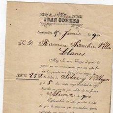 Facturas antiguas: FACTURA. JUAN CORREA. SANTANDER 1900 RECIBO.. Lote 41386069