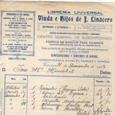 Facturas antiguas: FACTURA. LIBRERÍA UNIVERSAL VIUDA E HIJOS DE LINACERO. VITORIA.. Lote 41405003