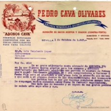 Facturas antiguas: FACTURA. ABONOS CAVA. SEVILLA. ALMACÉN DE SACOS NUEVOS Y USADOS. FIRMA.. Lote 41640929