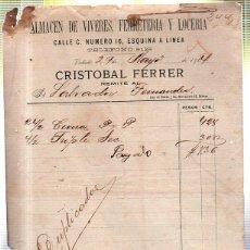 Facturas antiguas: FACTURA DE CRISTOBAL FERRER. ALMACEN DE VIVERES, FERRETERIA Y LOCERIA. VEDADO (CUBA). 1904. Lote 41664263