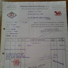 Facturas antiguas: ANTIGUA FACTURA ESPARTOS CAPACHOS CONSERVAS FRUTAS MARTINEZ MONTIEL CIEZA MURCIA. Lote 41805347