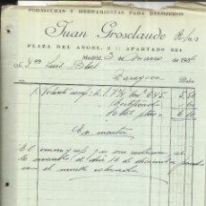Facturas antiguas: FACTURA DE JUAN GROSCLAUDE. FORNITURAS Y HERRAMIENTAS PARA RELOJEROS. MADRID. 1936 . Lote 42132506