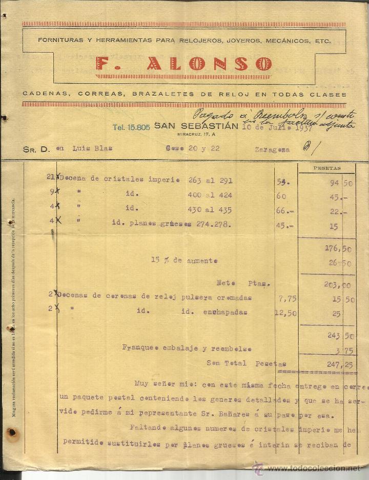 FACTURA DE F. ALONSO. FORNITURAS Y HERRAMIENTAS PARA RELOJEROS. SAN SEBASTIÁN. 1937 (Coleccionismo - Documentos - Facturas Antiguas)
