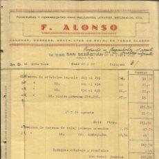 Factures anciennes: FACTURA DE F. ALONSO. FORNITURAS Y HERRAMIENTAS PARA RELOJEROS. SAN SEBASTIÁN. 1937. Lote 42153632