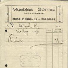 Facturas antiguas: FACTURA DE MUEBLES GÓMEZ. ZARAGOZA. 1930. Lote 42192467