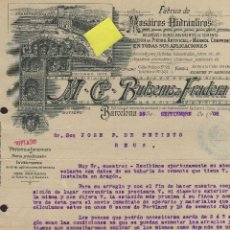 Factures anciennes: FACTURA MOSAICOS HIDRAULICOS BUTSEMS BARCELONA CATALUÑA PAVIMENTO CEMENTO SILLERIA MARMOL BALDOSAS. Lote 42192537