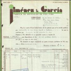 Facturas antiguas: FACTURA DE JIMÉNEZ & GARCÍA. FÁBRICA DE ARTÍCULOS DE PIEL FINA. UBRIQUE. 1935. Lote 42194964