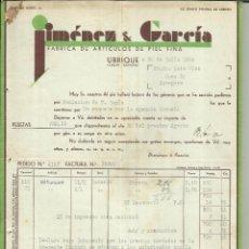 Facturas antiguas: FACTURA DE JIMÉNEZ & GARCÍA. FÁBRICA DE ARTÍCULOS DE PIEL FINA. UBRIQUE. 1938 . Lote 42195006