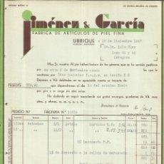 Facturas antiguas: FACTURA DE JIMÉNEZ & GARCÍA. FÁBRICA DE ARTÍCULOS DE PIEL FINA. UBRIQUE. 1937. Lote 42195125