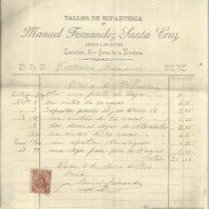 Facturas antiguas: FACTURA DE MANUEL FERNÁNDEZ SANTA CRUZ. TALLER DE ESPARTERÍA. JEREZ DE LA FRONTERA. CÁDIZ. 1900. Lote 42328245