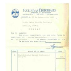 Facturas antiguas: FACTURA EXCLUSIVAS EDITORIALES 1965. Lote 42336471