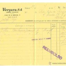 Facturas antiguas: LIBROS TÉCNICOS VERGARA 1956. Lote 42336899