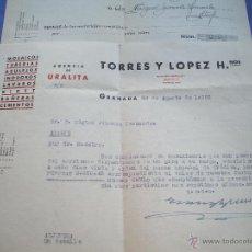 Facturas antiguas: FACTUAS DE CEMENTOS TORRES Y LOPEZ HERM.GRANADA. Lote 42410341
