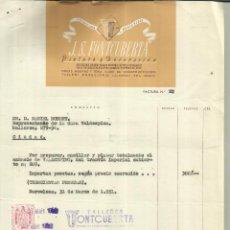 Facturas antiguas: FACTURA DE J.S. FONTCUBERTA. PINTURA. DECORACIÓN. BARCELONA. 1951. Lote 42473585