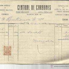 Facturas antiguas: FACTURA DE CENTRAL DE CARBONES. GRAN DEPÓSITO DE CARBONES. JEREZ DE LA FRONTERA. CÁDIZ. 1915. Lote 42473606