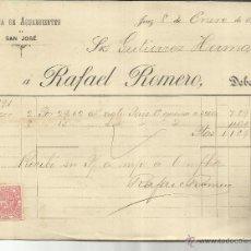 Facturas antiguas: FACTURA DE RAFAEL ROMERO. FÁBRICA DE AGUARDIENTES DE SAN JOSÉ. JEREZ DE LA FRONTERA. CÁDIZ. 1891. Lote 42474337