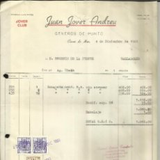 Facturas antiguas: FACTURA DE JUAN JOVER ANDREU. GÉNEROS DE PUNTO. CANET DE MAR. BARCELONA. 1961. Lote 42724184