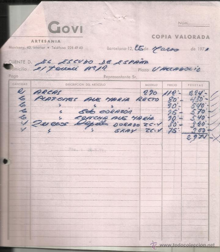 Factura de govi artesan a barcelona 1971 comprar - Artesania barcelona ...