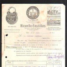 Facturas antiguas: FACTURA COMERCIAL. RICARDO COSTILLAS. FERRETERIA Y CEMENTOS. LEON. 1918. Lote 42955241