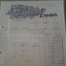 Facturas antiguas: ANTIGUA FACTURA LA PAPELERA ESPAÑOLA BILBAO MADRID 1919. Lote 42955778