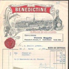 Facturas antiguas: FACTURA ZARAGOZA AÑO 1931 BENEDICTINE -VINOS VICENTE MAGAÑA-. Lote 43005486