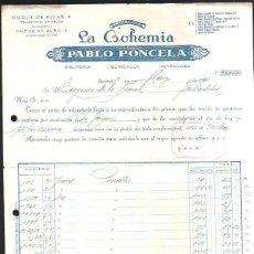 Facturas antiguas: FACTURA. ALMACENES LA BOHEMIA. PABLO PONCELA. MADRID. 1950. BISUTERIA. VINTAGE. Lote 43090765