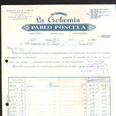 Facturas antiguas: FACTURA. ALMACENES LA BOHEMIA. PABLO PONCELA. MADRID. 1950. BISUTERIA. VINTAGE. Lote 43090794