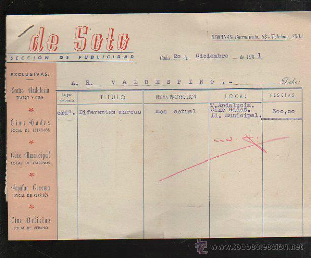 FACTURA. DE SOTO. PUBLICIDAD. CADIZ. 1951. CON FOTOGRAFIAS PUBLICITARIAS Y RECIBOS (Coleccionismo - Documentos - Facturas Antiguas)