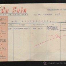 Facturas antiguas: FACTURA. DE SOTO. PUBLICIDAD. CADIZ. 1951. CON FOTOGRAFIAS PUBLICITARIAS Y RECIBOS. Lote 43195086
