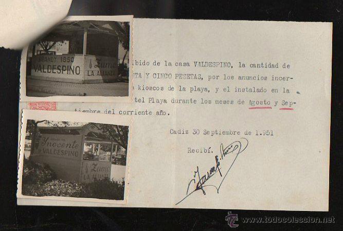 Facturas antiguas: FACTURA. DE SOTO. PUBLICIDAD. CADIZ. 1951. CON FOTOGRAFIAS PUBLICITARIAS Y RECIBOS - Foto 2 - 43195086