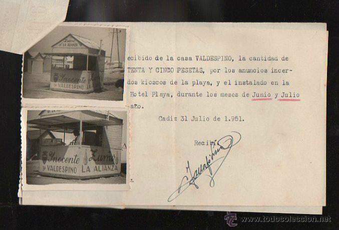 Facturas antiguas: FACTURA. DE SOTO. PUBLICIDAD. CADIZ. 1951. CON FOTOGRAFIAS PUBLICITARIAS Y RECIBOS - Foto 3 - 43195086