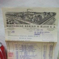 Facturas antiguas: + BENICARLO CASTELLON. ANTIGUA FACTURA DESTILERIAS ADRIAN & KLEIN 1951 SELLO ZARAGOZA. Lote 43352422