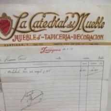 Faturas antigas: ZARAGOZA. LA CATEDRAL DEL MUEBLE ANTIGUA FACTURA DEL AÑO 1954. Lote 43375062
