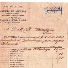 Facturas antiguas: FACTURA DE JOSÉ Mª. MOLINA. AGENCIA DE ADUANAS. CÁDIZ. 1895.. Lote 43564683