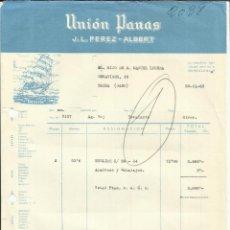 Facturas antiguas: FACTURA DE J.L. PEREZ-ALBERT. UNIÓN PANAS. BARCELONA. 1963. Lote 43604367