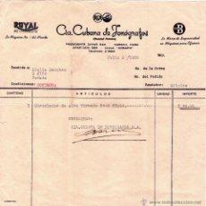 Facturas antiguas: FACTURA DE CIª. CUBANA DE FONÓGRAFOS, S. A. HABANA - CUBA. 1952.. Lote 43695326