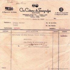 Facturas antiguas: FACTURA DE CIª. CUBANA DE FONÓGRAFOS, S. A. HABANA - CUBA. 1952.. Lote 43695334