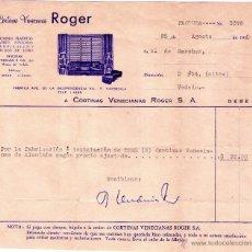 Facturas antiguas: FACTURA DE CORTINAS VENECIANAS ROGER, S. A. VEDADO - CUBA. 1958.. Lote 43695443